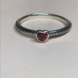 New Pandora Silver& Ruby Stackable Love Ring #81/2